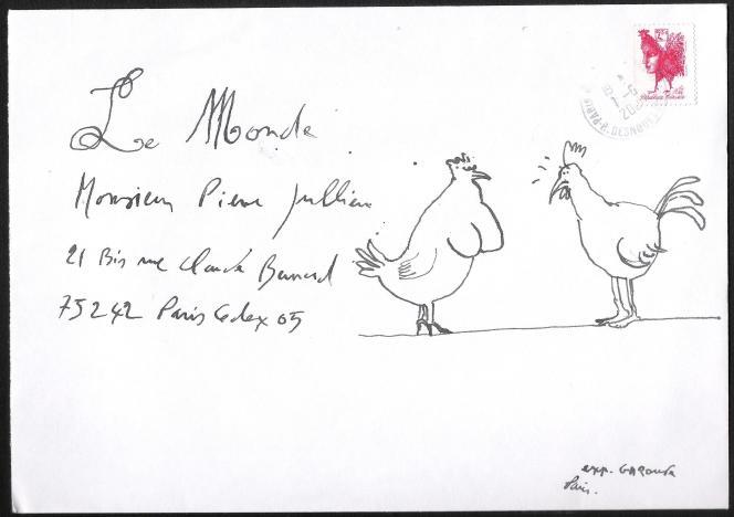 Enveloppe de mail art signée Gérard Garouste.