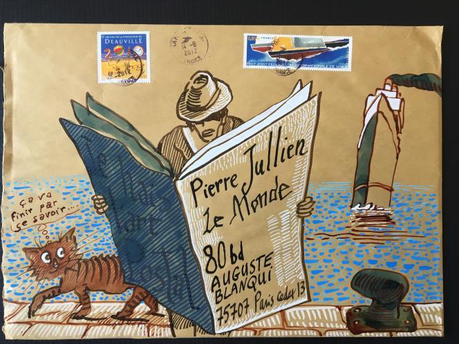 Mail art: enveloppe dessinée par Nicolas Vial (2012) ayant voyagé par La Poste, revêtue de timbres-poste créés par l'artiste.