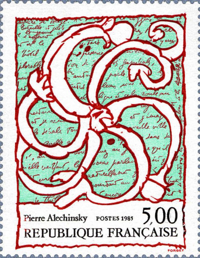 « Roue d'écriture», timbre de Pierre Alechnisky (1985). Motif: manuscrit de Michel Butor issu de «Matière de rêves» écrit pour «Le rêve de l'ammonite», en 1975.