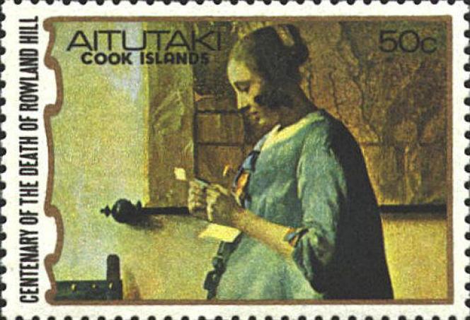 « La Femme en bleu lisant une lettre» (détail), timbre de Aitutaki (1979).