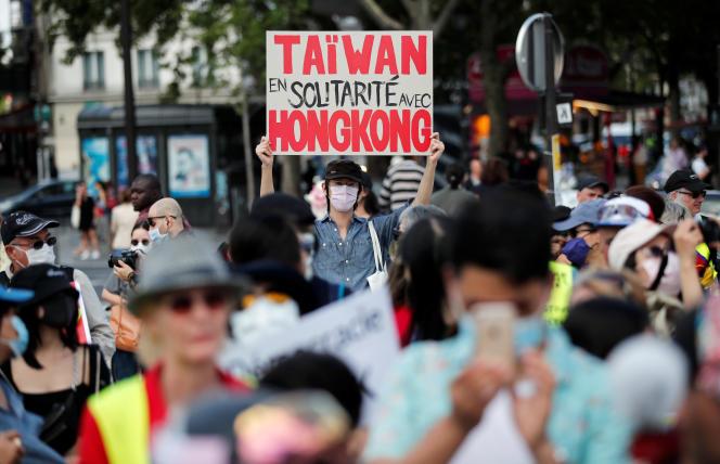 Manifestation en soutien des manifestants de Hongkong, à Paris, le 11 juillet.