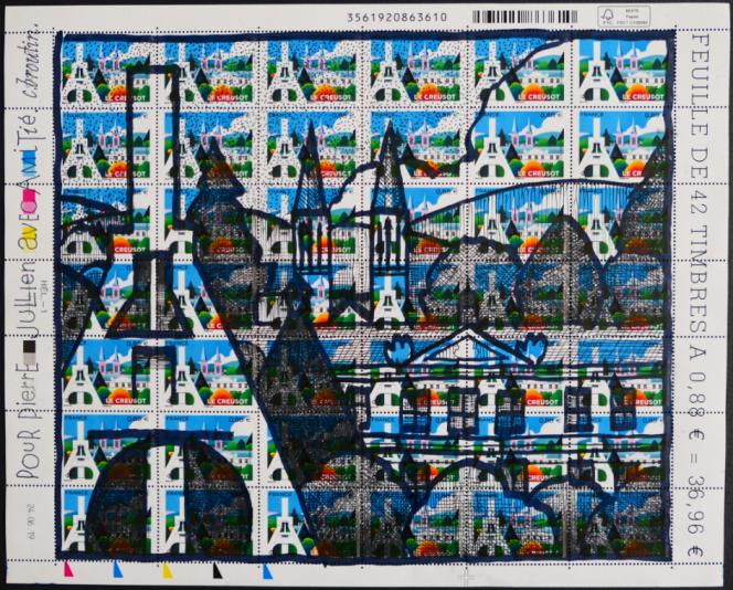 « Le Creusot», Timbre de Christian Broutin (mise en page deSandrine Chimbaud) paru en 2019. La feuille est illustrée et signée par Christian Broutin.