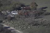 Un agriculteur arménien rassemble un troupeau de moutons près d'un cimetière du village d'Avdur, dans le Haut-Karabakh, mardi 24 novembre.