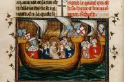 Saint Louis embarqué pour une croisade.