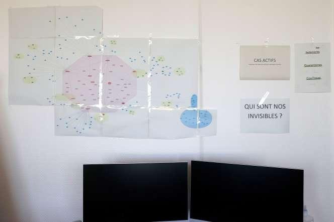 Une carte montre l'étendue de la contamination dans le comté genevoix (Suisse), le 29 octobre.