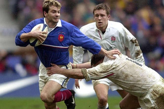 Christophe Dominici, lors d'un match du Tournoi des six nations contre l'Angleterre, le 19 février 2000.