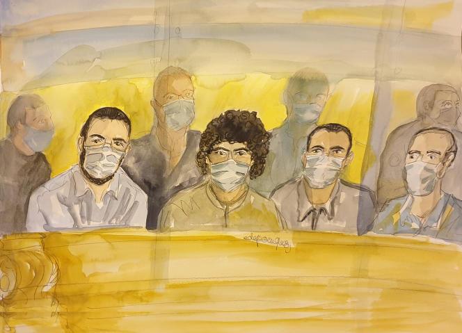 Les quatre accusés du proès du Thalys, de gauche à droite : Ayoub El Khazzani, Bilal Chatra, Redouane El Amrani Ezzerrifi et Mohamed Bakkali.