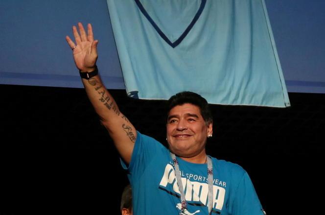 Diego Maradona lors de la Coupe du monde de football en Russie en 2018.