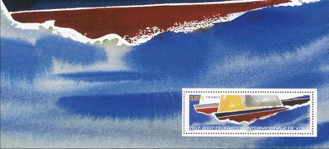 «Centenaire de la Fédération internationale de voile». Timbre paru en 2007 imprimé sur feuillet de 206x95mm. Voiliers en compétition. Dessin de Nicolas Vial.