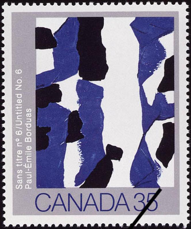 Timbre canadien émis en 1981, d'après Paul-Emile Borduas.