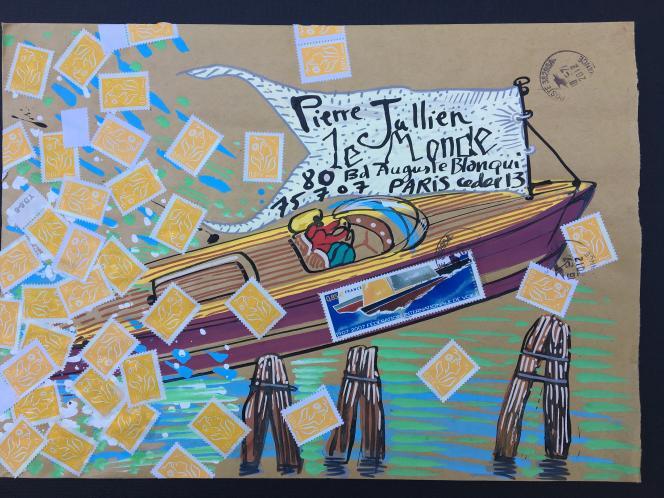 Art postal: une enveloppe dessinée par Nicolas Vial inspirée par Venise (2012).