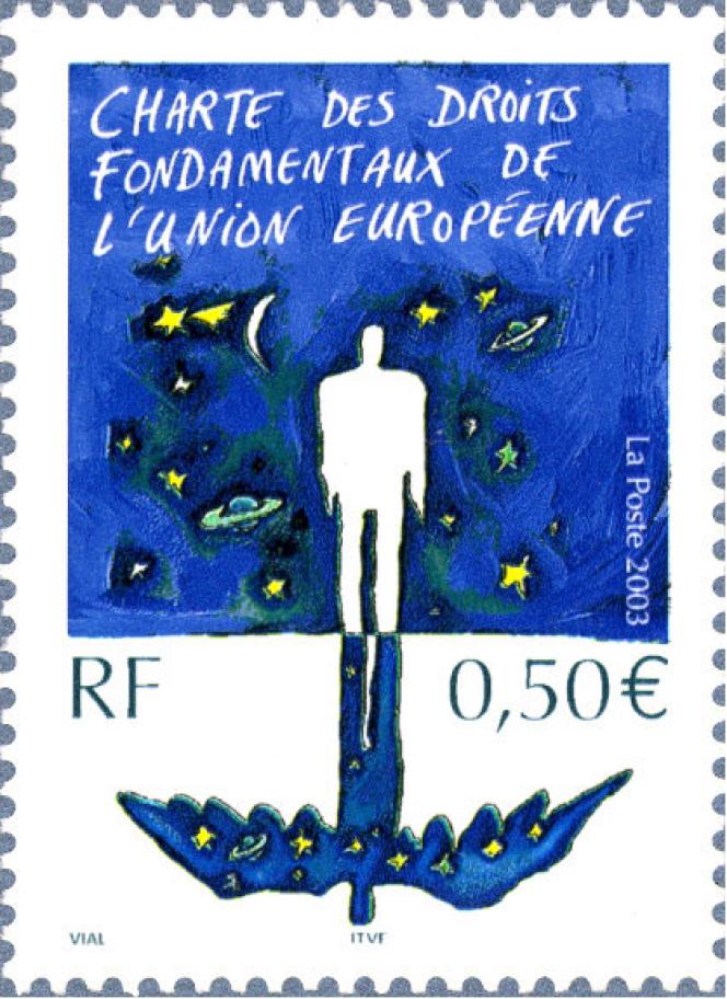 «Charte des droits fondamentaux de l'Union européenne», par Nicolas Vial. Timbre paru en 2003.