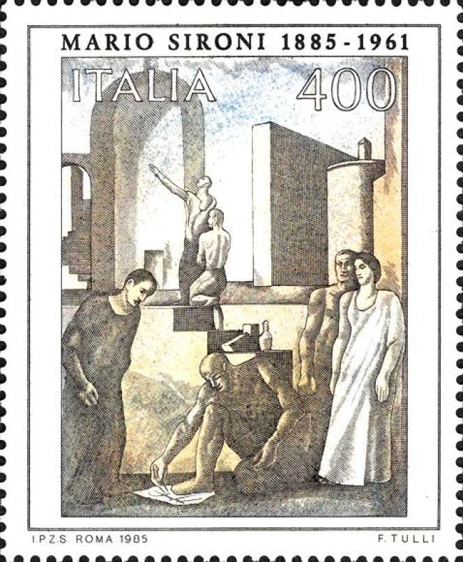 Timbre italien d'après Mario Sironi (1885-1961), paru en 1985.