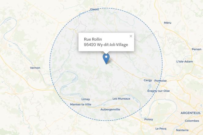 Périmètre de 20 km autour de Wy-dit-Joli-Village, dans le Val-d'Oise.