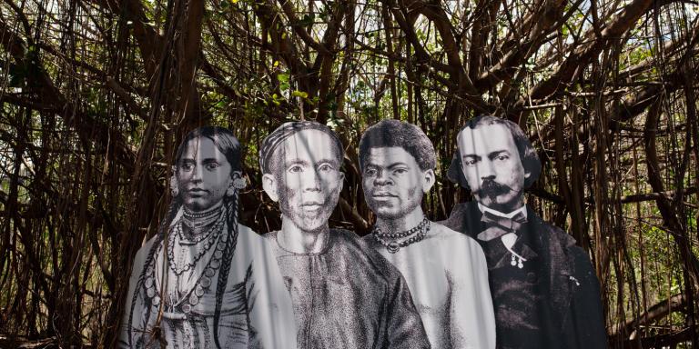 La Grande Chaloupe, le 10 novembre 2020. Ambiances autour du Lazaret. Sur le sujet de la préférence régionale à La Réunion, illustrations sur le thème de l'identité et de l'histoire.