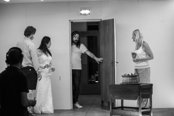 Photos de répétitions de l'opéra«Innocence» de Kaija Saariaho, mise en scèneSimon Stone,sur la photo Lilian Farahani, Markus Nykänen, Magdalena Kožená
