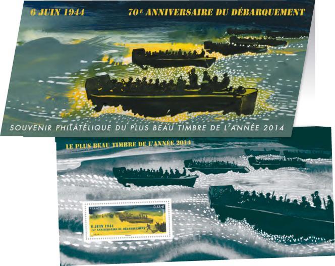 Souvenir philatélique « Le plus beau timbre de l'année 2014»: timbre sur le 70e anniversaire du débarquement, créé par Nicolas Vial (mise en page d'Aurélie Baras). Timbre paru en 2014, souvenir philatélique paru en 2015.