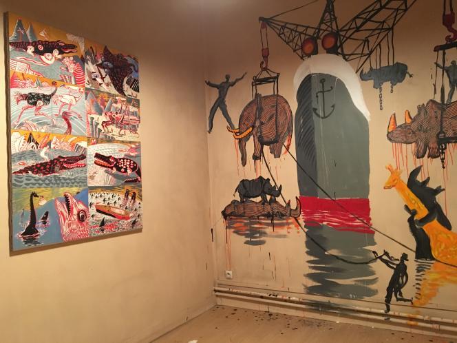 Quelques éléments du« bestiaire» de Nicolas Vial, peint aucouvent de la Congrégation des Soeurs aveugles de Saint-Paul, à Paris, le 25 novembre 2016.