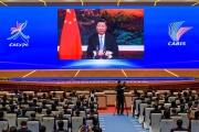 Allocution vidéo du président chinois Xi Jinping, à Nanning, le 27 novembre 2020.