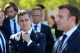 Le ministre de l'intérieur, Gérald Darmanin et Emmanuel Macron, lors de leur visite au château de Chambord (Loir-et-Cher), le 22 juillet.