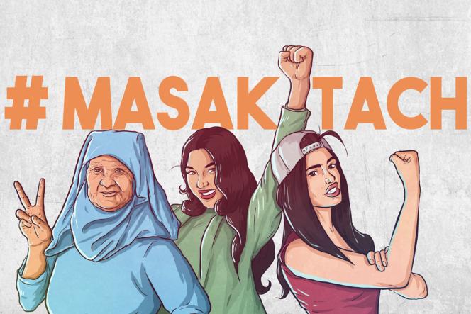 Illustration de la page d'accueil Facebook du collectif Masaktach (« Je ne me tairai pas » en dialecte arabe marocain), qui lutte contre les violences faites aux femmes.