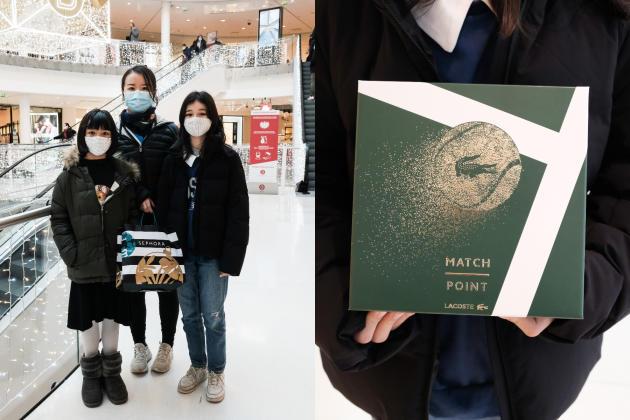 Yingxue, Anna et Sasha ont acheté un coffret de parfum, le 28 novembre à Paris.