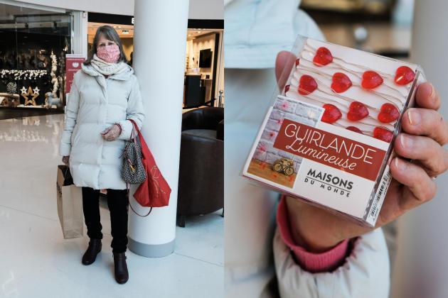 Marie-France s'est offertune guirlande lumineuse. Dans le centre commercial Beaugrenelle à Paris, le 28 novembre.