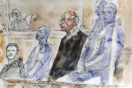 Dessin d'audience de Joël Le Scouarnec, à la cour d'assises de Saintes (Charente-Maritime), le 13 mars.