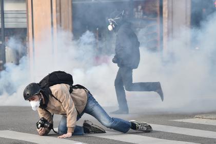 Un photographe, lors d'une manifestationà Nantes, en 2015.