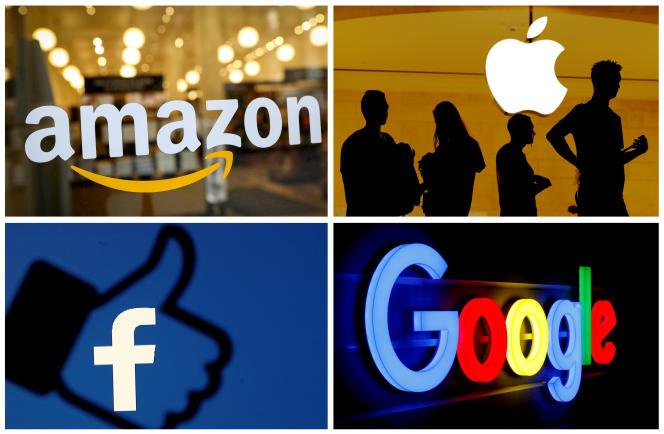 Les logos de Google, Apple, Facebook et Amazon.