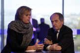 Florence Hardouin, la directrice générale de la Fédération française de football, et Noël LeGraët, le présisident (ici en2015).
