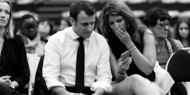 Berangere Couillard, deputee LREM de Gironde, organisatrice du debat, Emmanuel Macron, president de la Republique, et Marlene Schiappa, secretaire d'Etat a l'egalite femmes/hommes