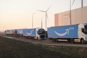 Aux abords des entrepôts Amazon àLauwin-Planque (Nord), le 26 novembre.