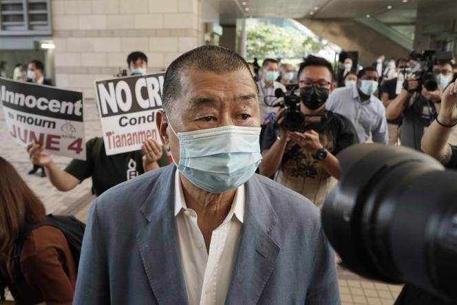 Jimmy Lai, patron de presse et figure prodémocratie, à son arrivée devant un tribunal de Hongkong, en octobre 2020.