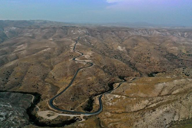 Vue aérienne d'Allon Road, nom donné par Israël à un ensemble routier en Cisjordanie, le 2 décembre.