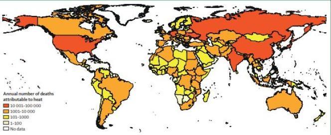 Mortalité liée à la chaleur dans la population âgée de plus de 65 ans entre 2014 et 2018.