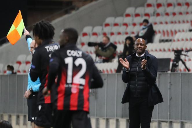 Patrick Vieira, lors de la défaite en Ligue Europa de Nice contre le Bayer Leverkusen (2-3), jeudi 3 décembre 2020, à l'Allianz Arena.