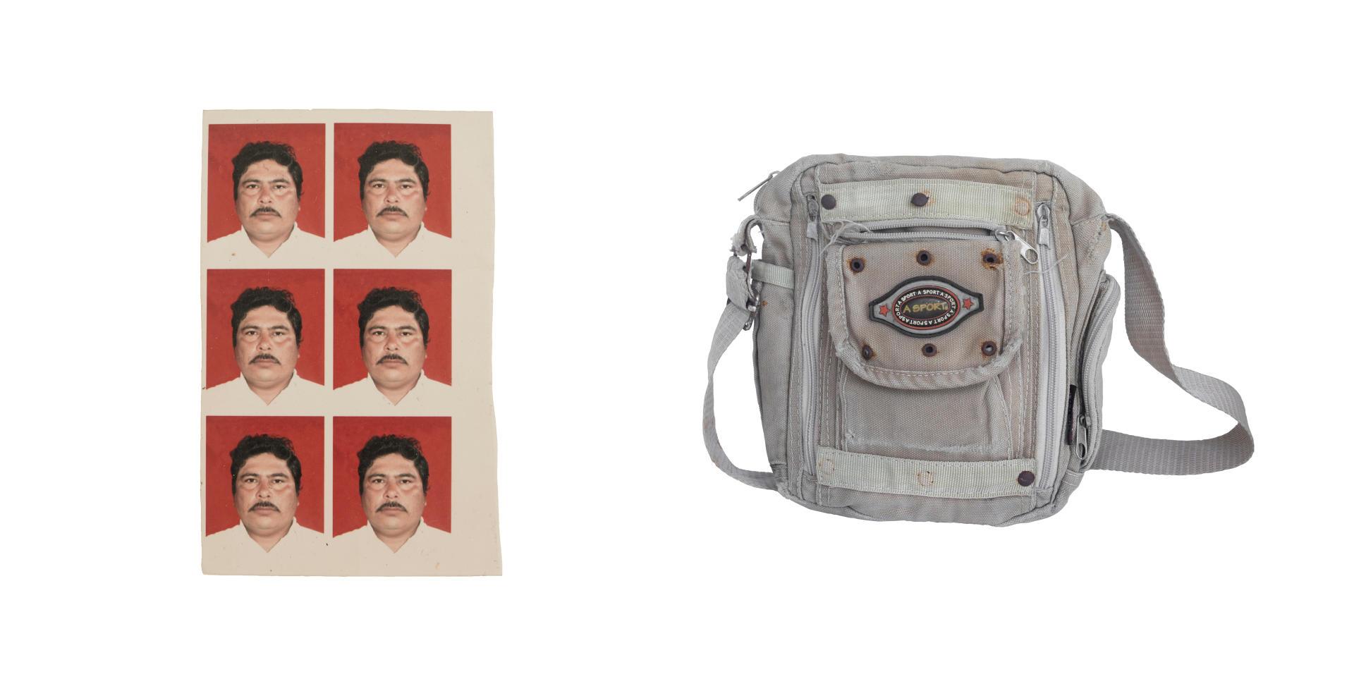 Les photos d'identité de Jimenez de la Cruz, surnommé « Goyo » et sa sacoche de travail.