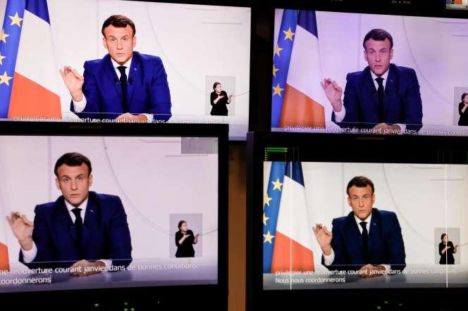Emmanuel Macron lors d'une allocution télévisée à propos de la crise sanitaire, le 24 novembre.
