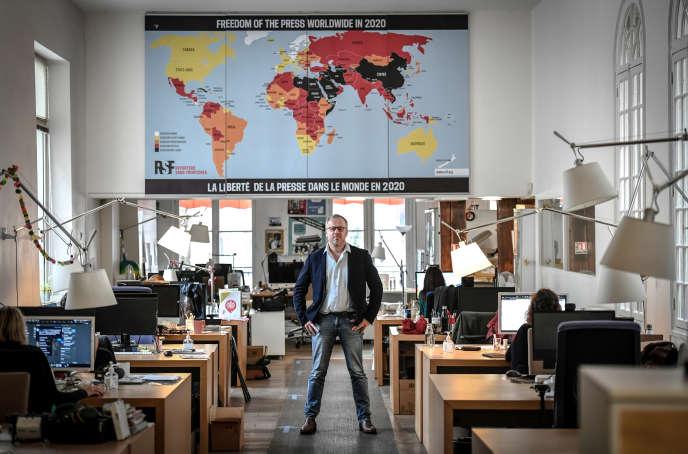 Christophe Deloire, secrétaire général de Reporters sans frontières, à Paris, le 9octobre 2020.