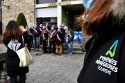 Mobilisation de professionnels de la montagne, le 3 décembre, à Aix-les-Thermes (Ariège).