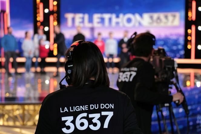 Sur le plateau du «Téléthon», le 4décembre.