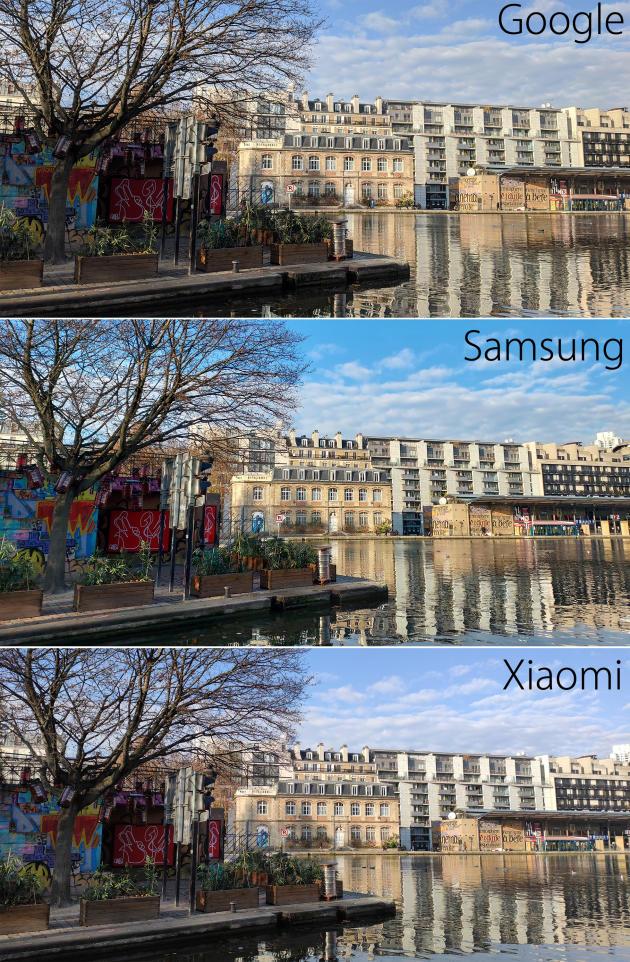 Les images du Xiaomi sont plus sobres que celles du Samsung, dont les couleurs exagérément vives et saturées peuvent plaire ou déplaire. Celles du Google sont parfois plus sombres que la moyenne, ce qui divisera les avis également.