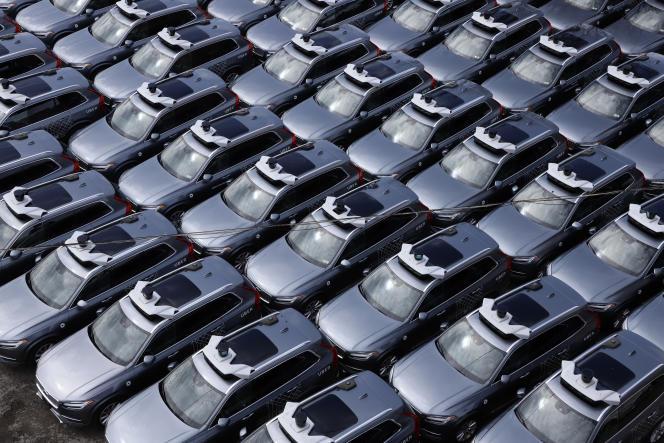 Une flotte de voitures autonomes Uber, à Pittsburgh (Pennsylvanie), en mars2020.