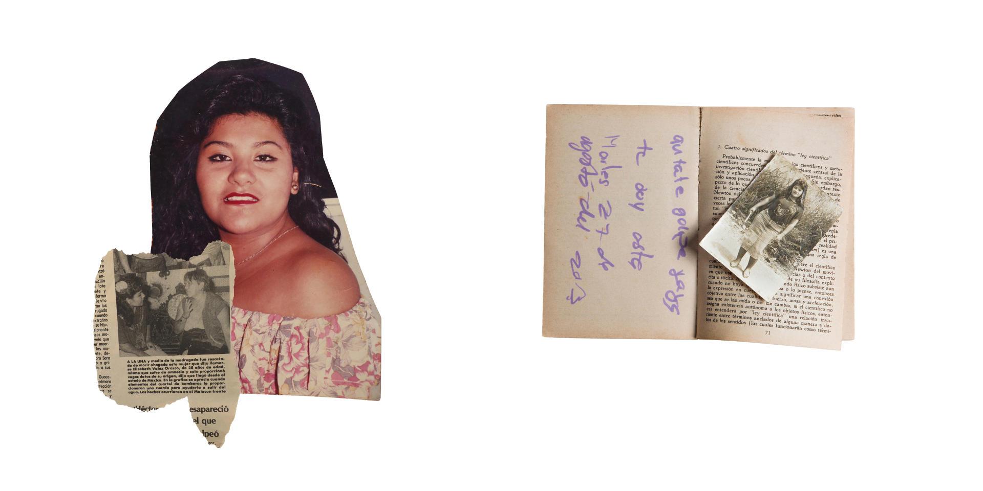 Portrait de Yolanda Ordaz de la Cruz découpé dans la presse et retrouvé dans un de ses albums personnels.