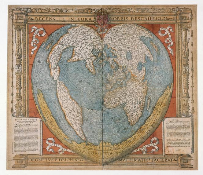 Carte du monde d'Oronce Fine (gravure sur bois aquarellée, 1536). Extrait de« L'Invention des continents et des océans».