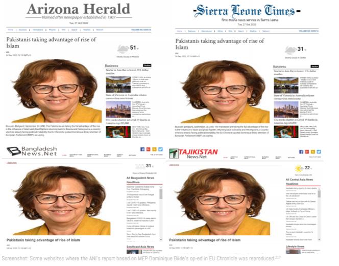 Après sa publication sur le site euchronicle.com puis sa reprise par l'agence ANI, la chronique de l'eurodéputée RN Dominique Bilde a été reprise par de nombreux médias étrangers.