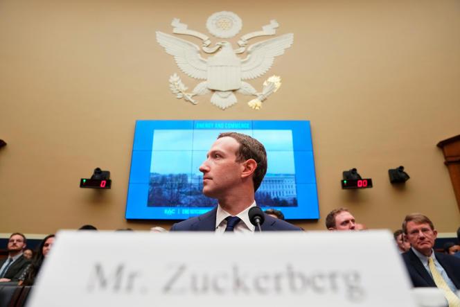 Le PDG de Facebook, Mark Zuckerberg, lors d'une audition à Washington en avril 2018.