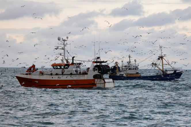 French and Dutch fishing boats in the North Sea, near the French coast, December 7, 2020.  Fishing has been a subject of conflict with the United Kingdom since the enactment of Brexit.