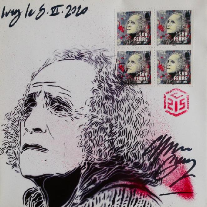 « Léo Ferré»: timbre paru en 2016. Enveloppe timbrée, illustrée et signée par C215.